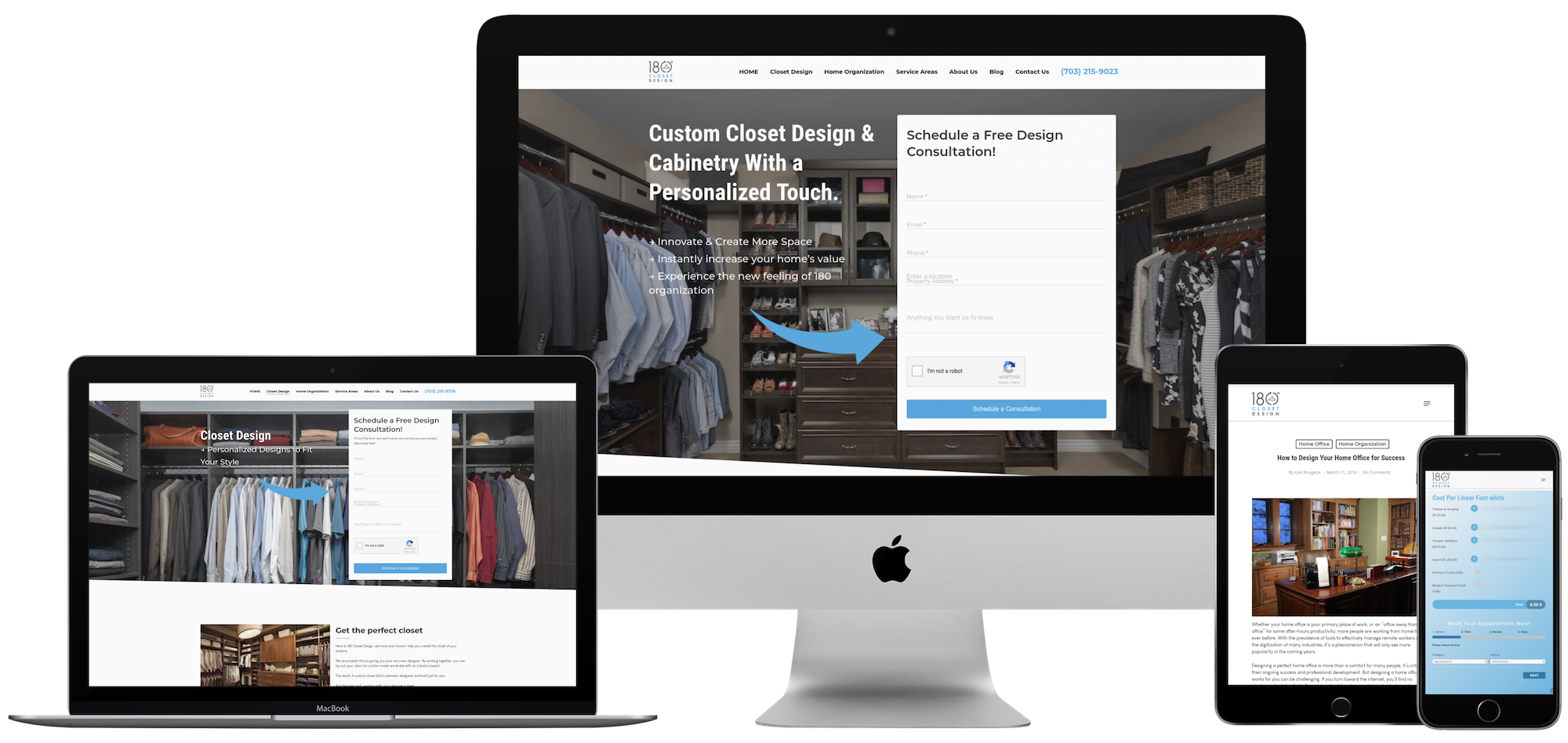custom website design closet designs