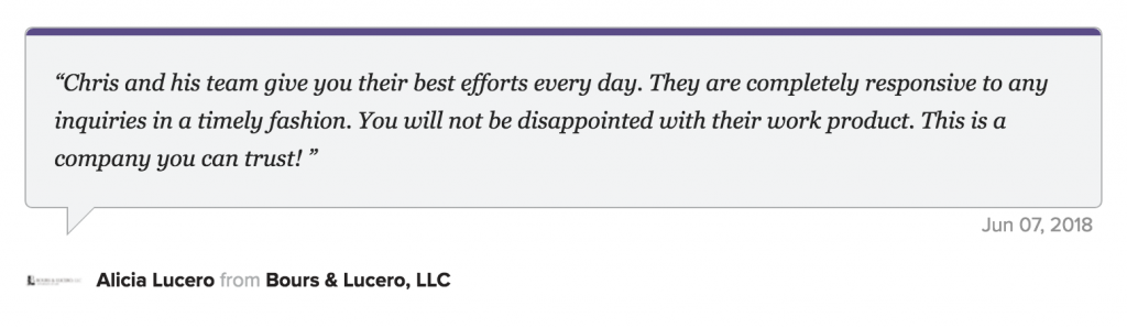 5 star review for Direction Inc from a law firm