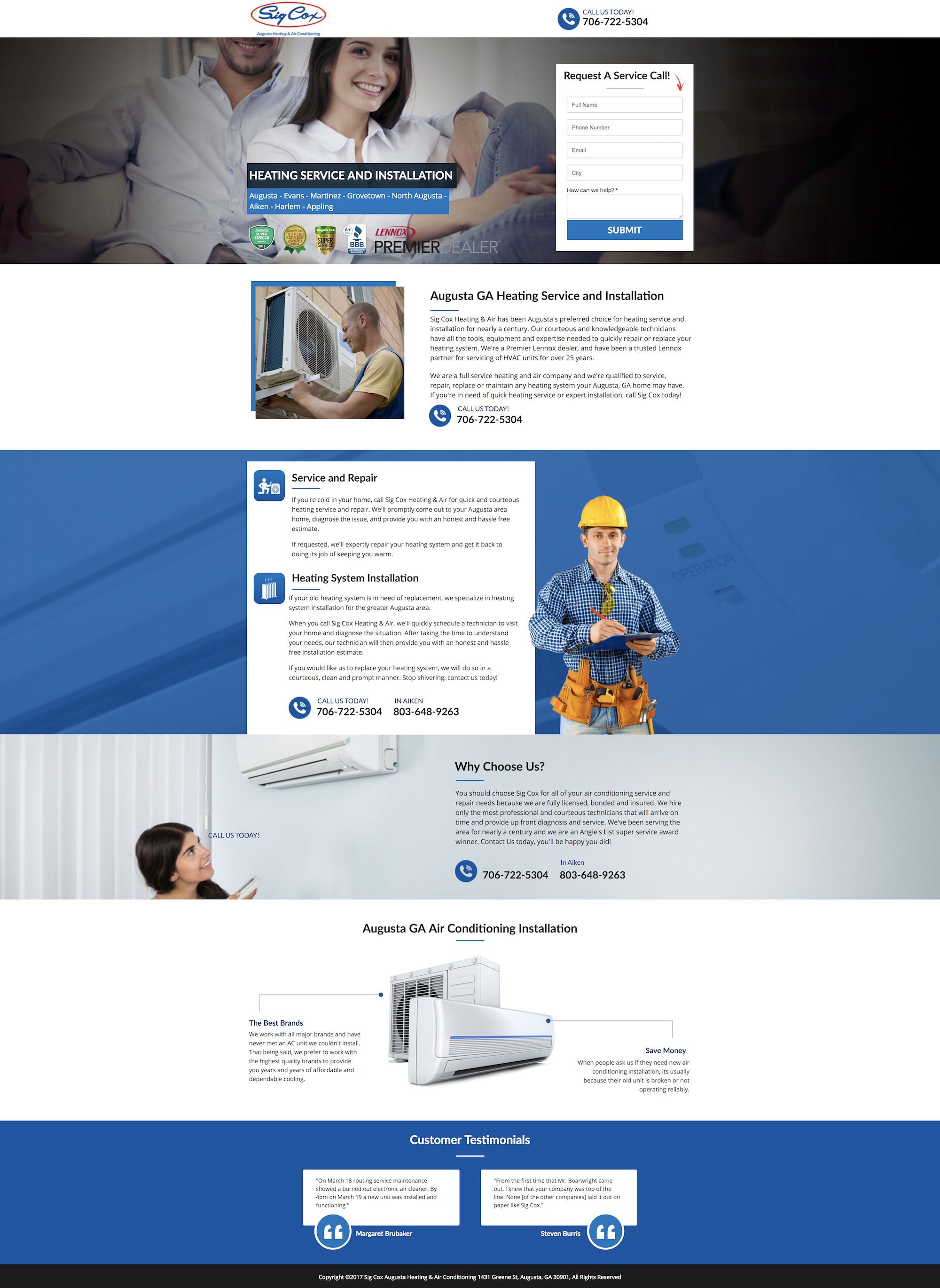 heating services landing page design