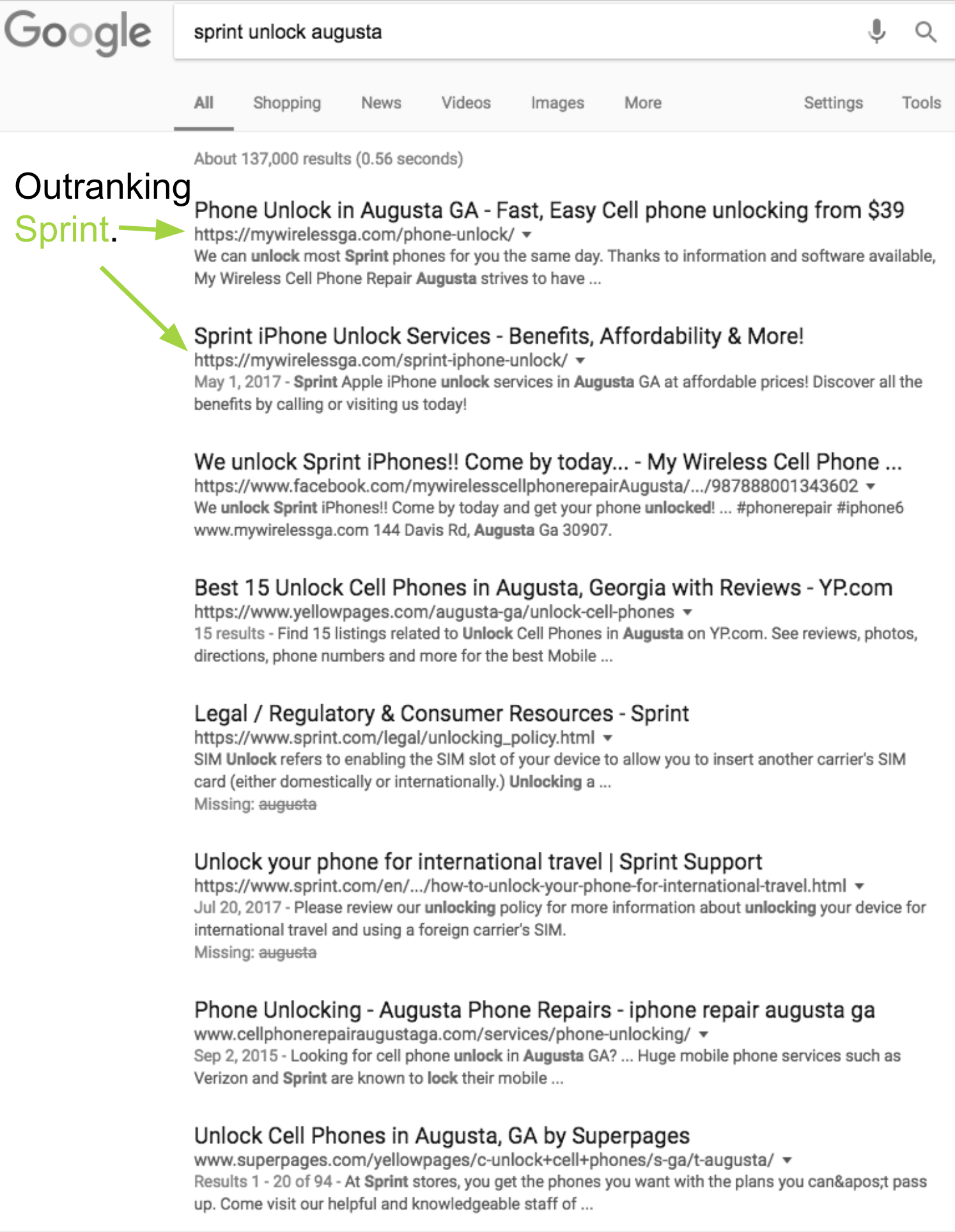 outranking sprint in search results