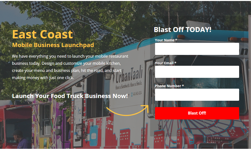 Ad Copy for a Food Truck Landing Page