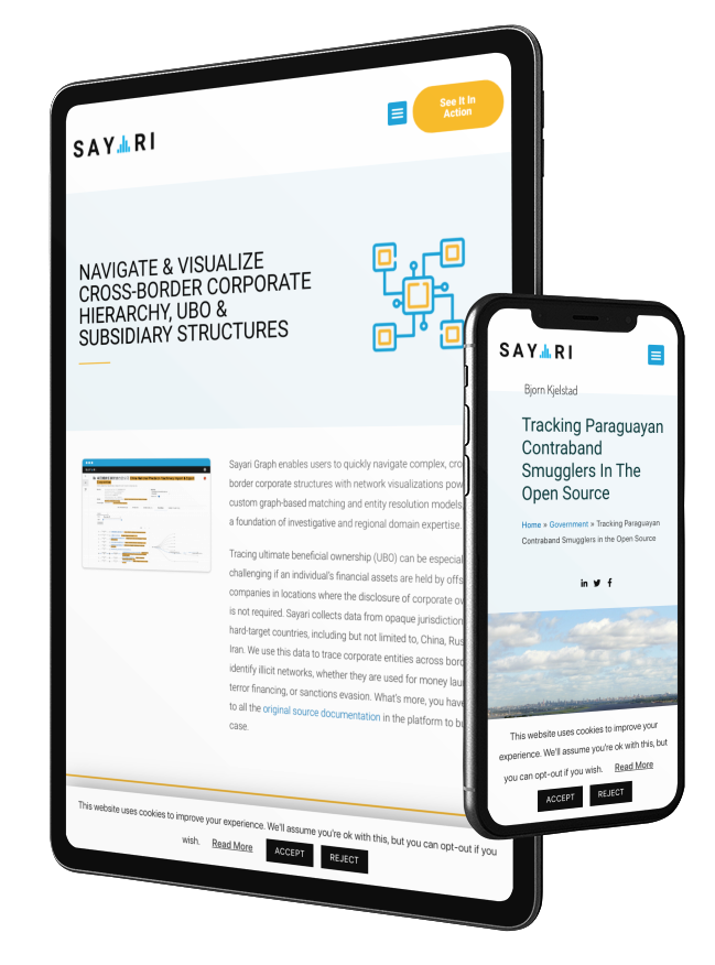 responsive website design for Sayari