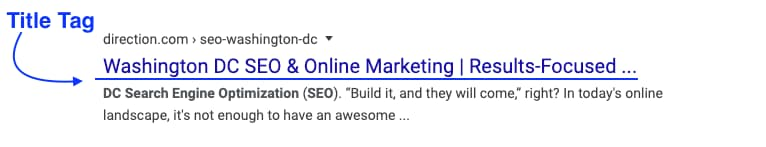 example of what a title tag is for on-page seo